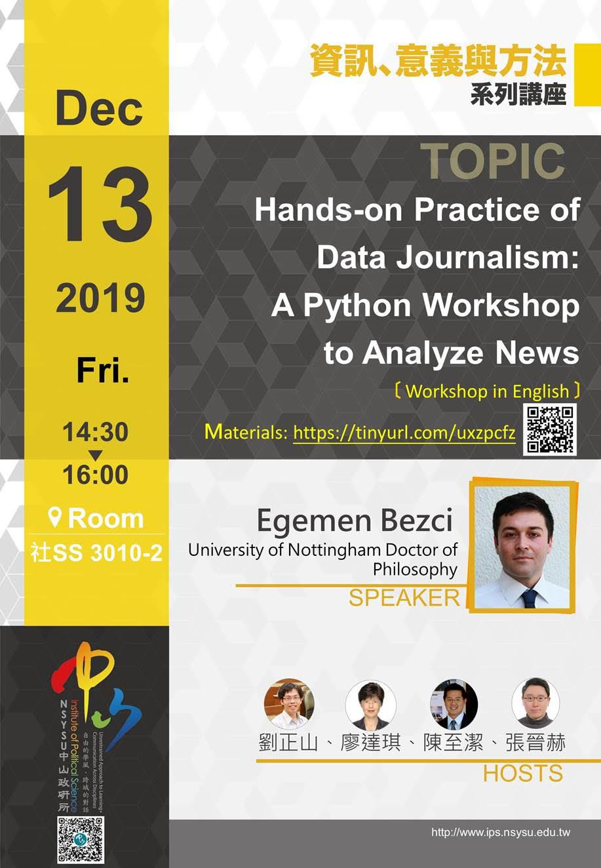 Egemen Bezci :Hands-on Practice of Data Journalism: A Python Workshop to Analyze News